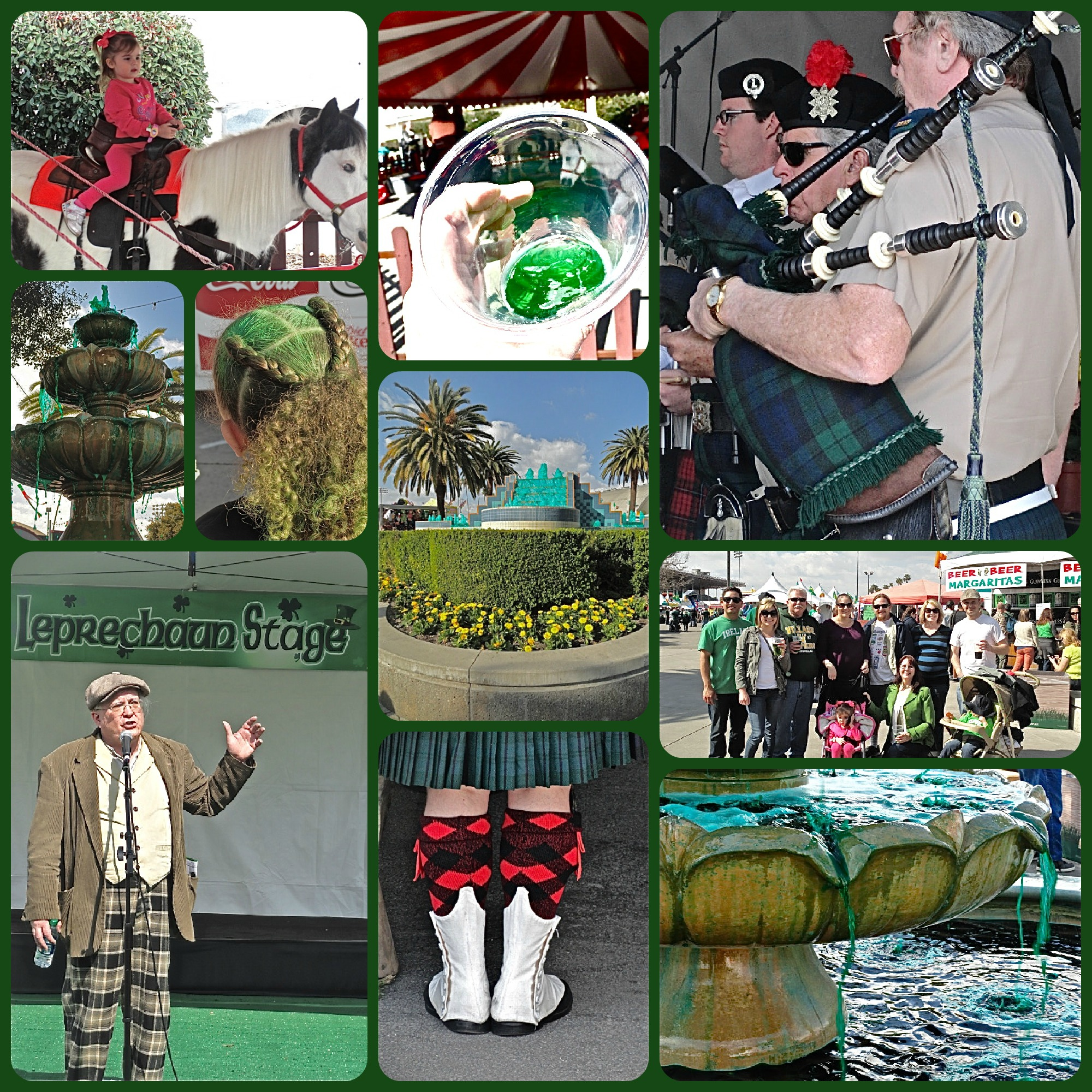 Irish festival, L.A. County Fairgrounds, St. Patrick's Day, pony ride, green water in fountains, green beer, bagpipe, Lynn Kelley, Lynn Kelley author, http://lynnkelleyauthor.wordpress.com