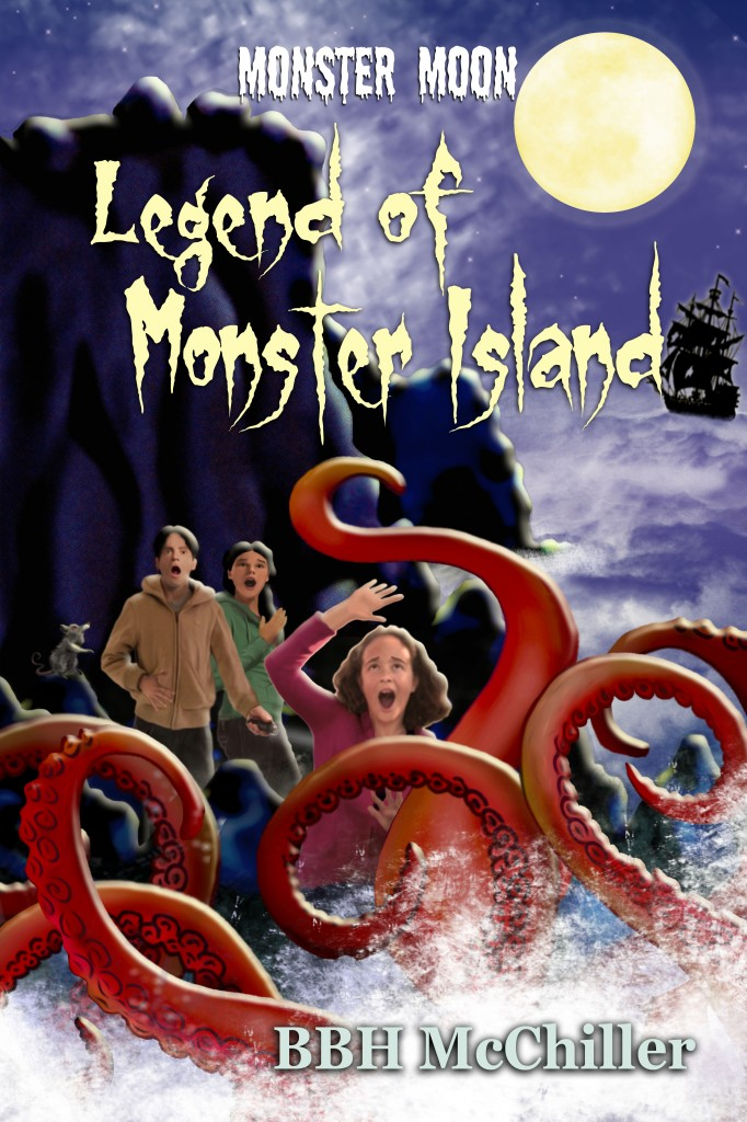 Legend of Monster Island, Monster Moon Mysteries, Book 3, BBH McChiller, Lynn Kelley Author, Mikey Brooks