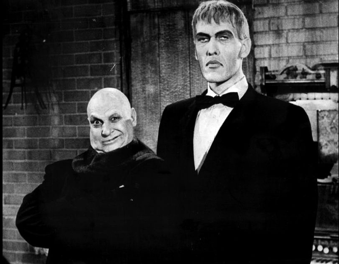 Jackie Coogan (Uncle Fester) and Ted Cassidy (Lurch)